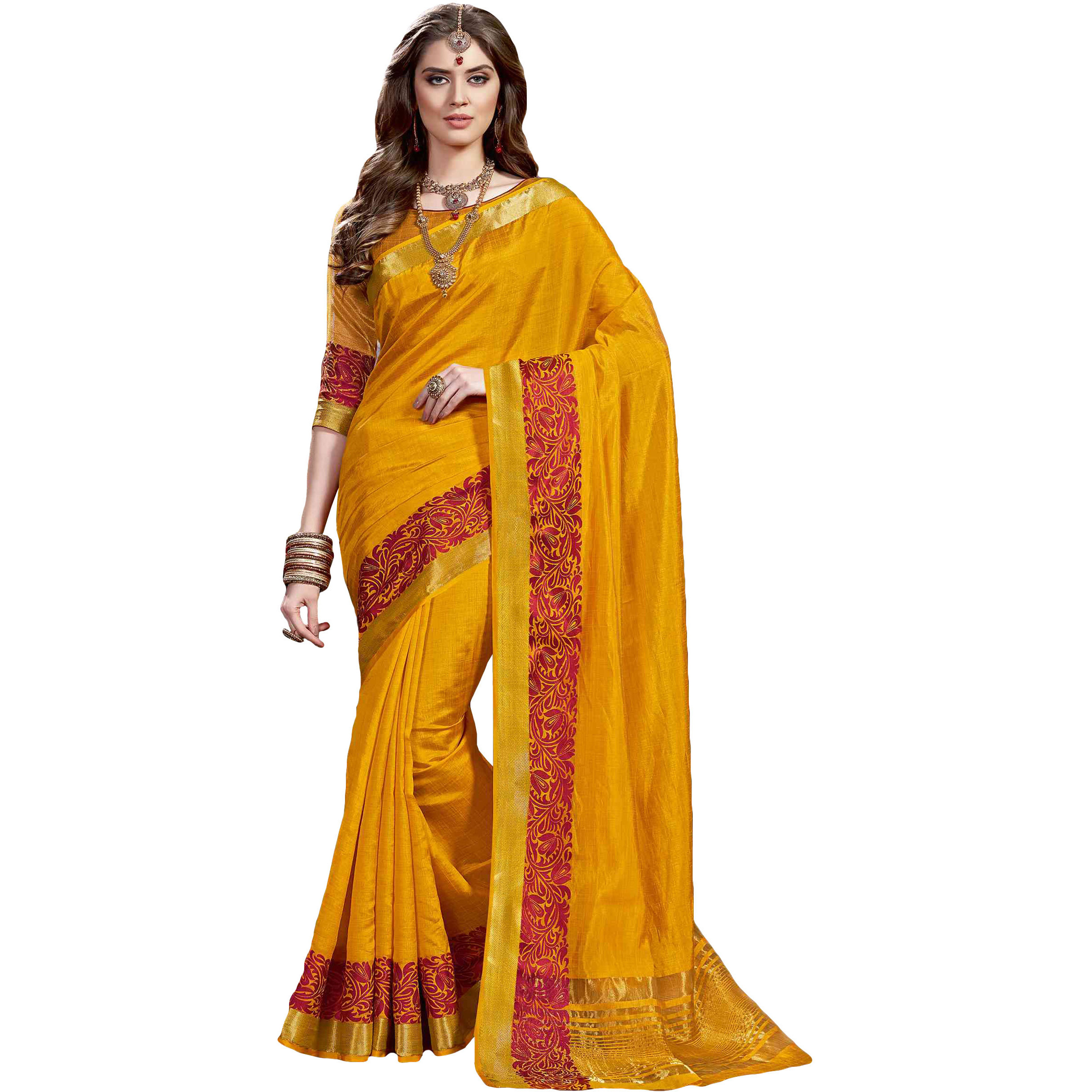 Mango Yellow Color Tusser SilkB Traditional Saree