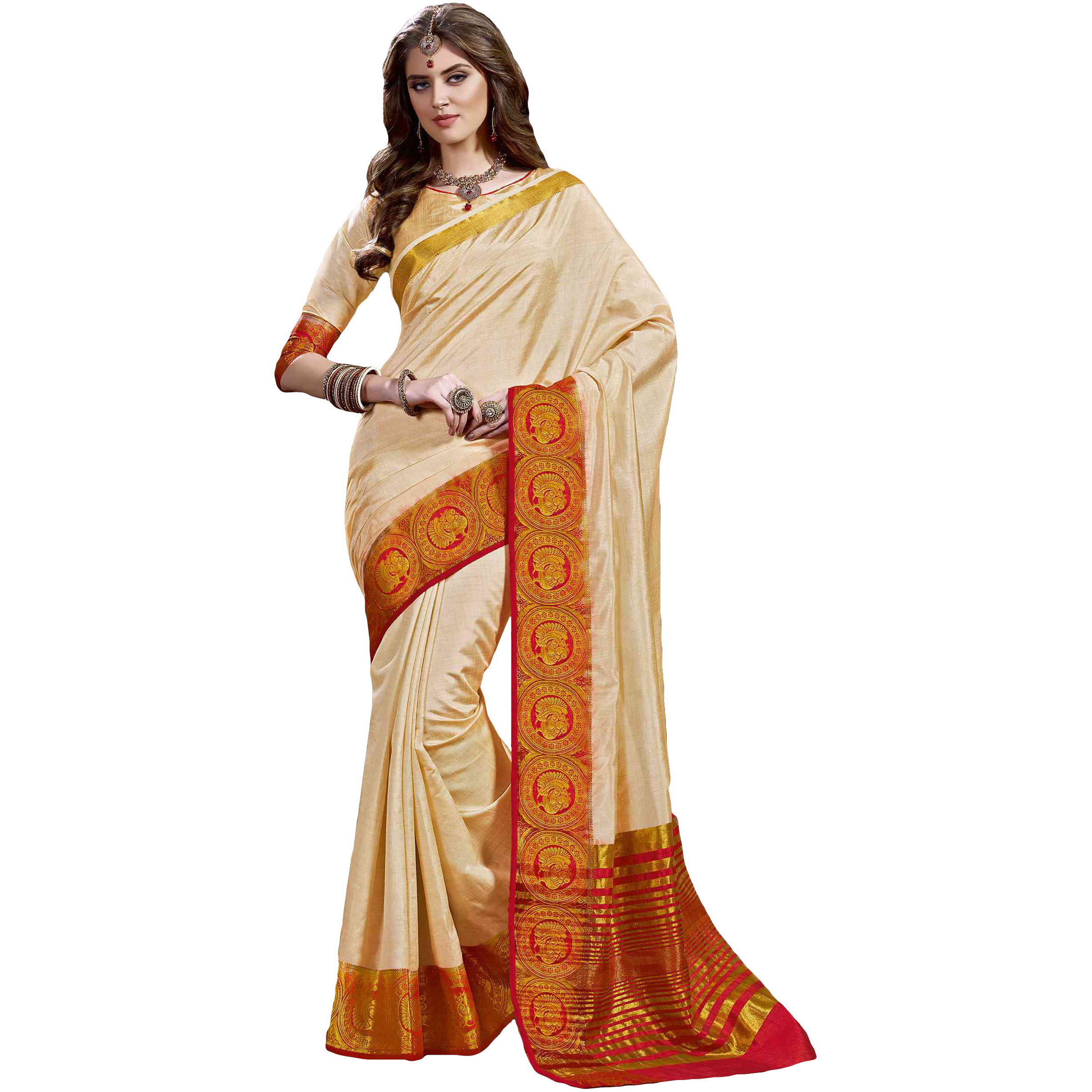 Beautiful Cream Tussar Silk Traditional Saree