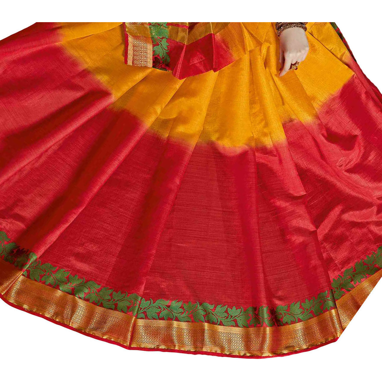 Remarkable Yellow and Red Tussar Silk Traditional Saree