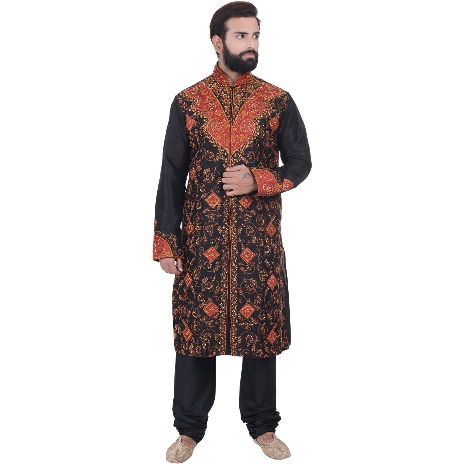 Indian Bollywood Design Black Kurta Sherwani For Men's 2pc Suit