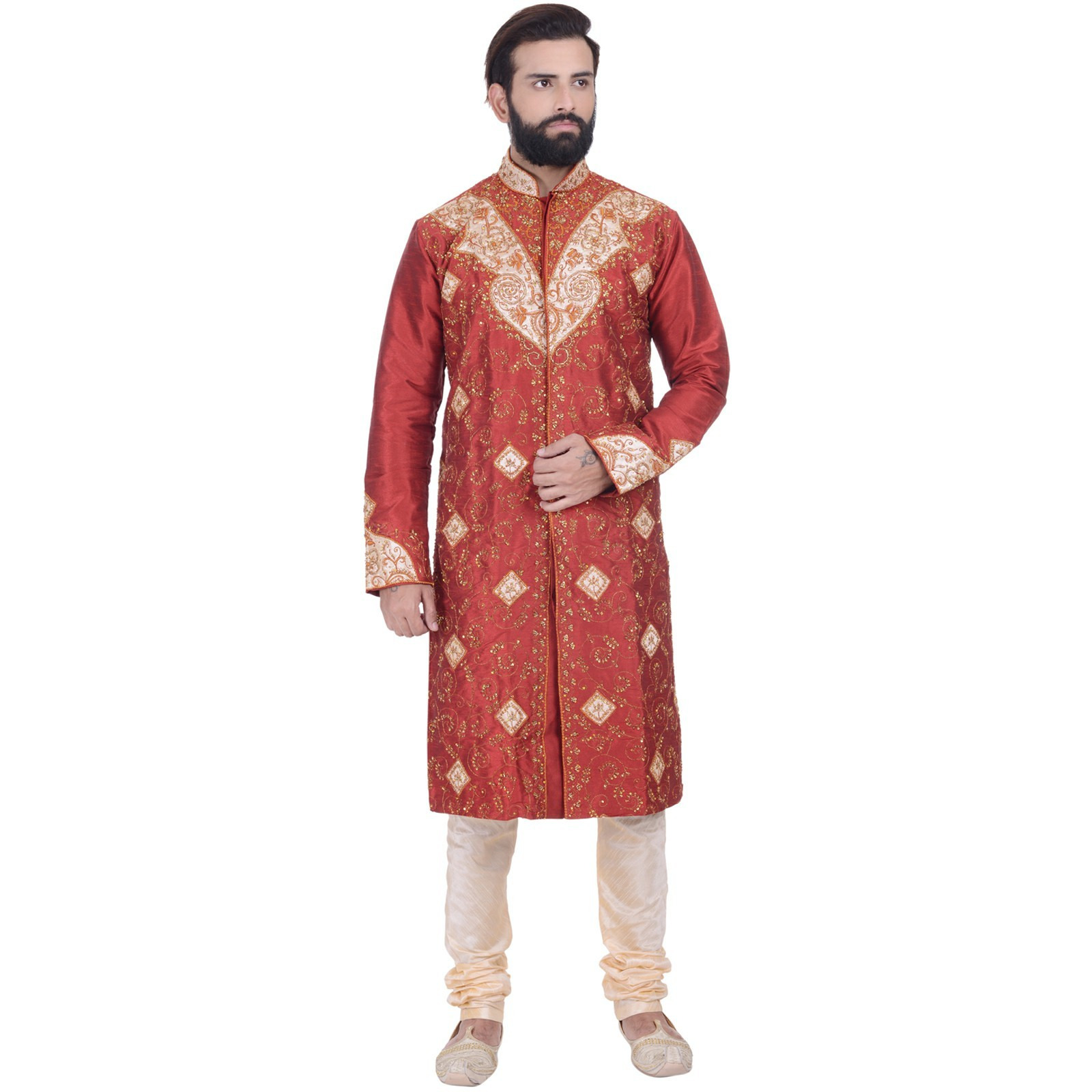 Indian Bollywood Design Red Kurta Sherwani For Men's 2pc Suit