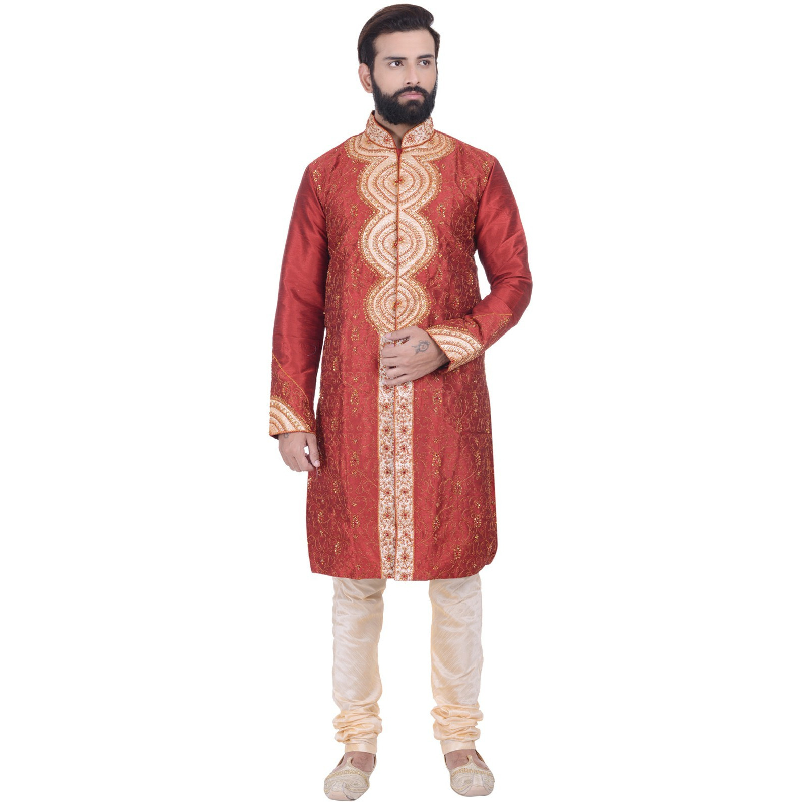 Indian Designer Bollywood Red Kurta Sherwani For Men 2pc Suit