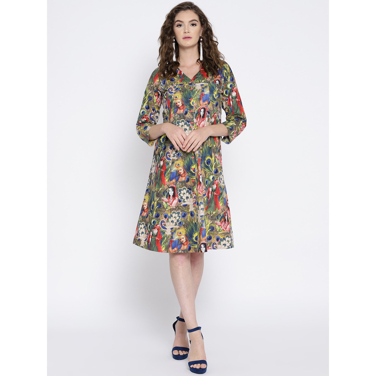 Ayaany flared printed cotton Dress (Size:S)
