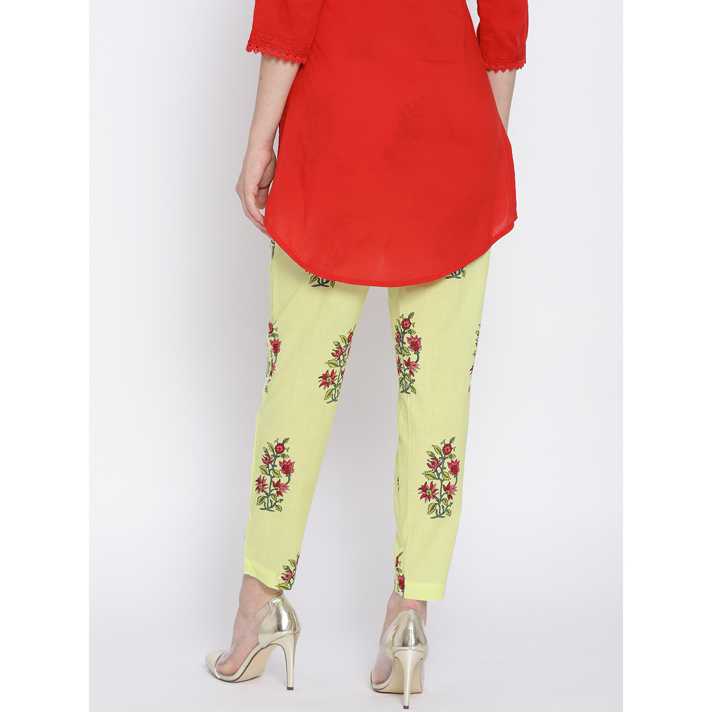 Ayaany Yellow Floral Print Cotton Pant (Size:S)