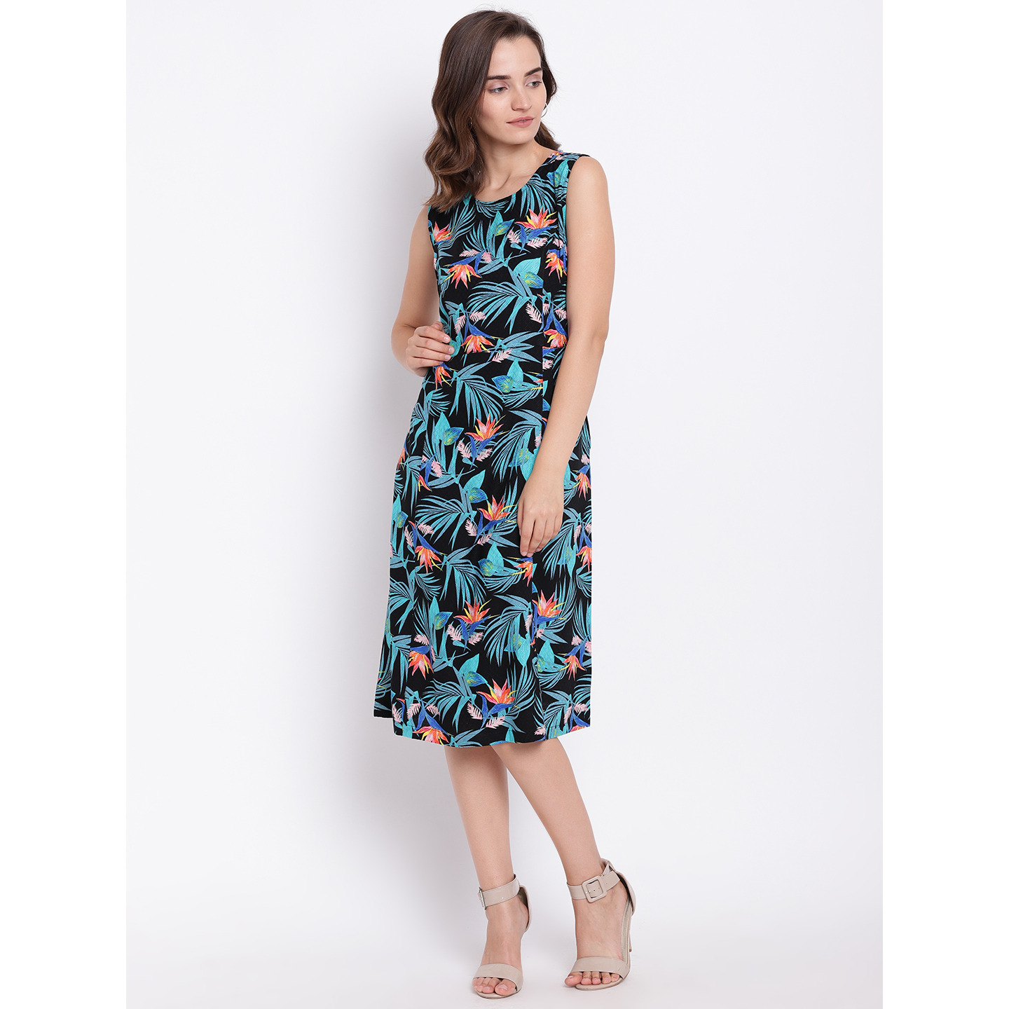 Ayaany Women Black & Blue Printed A-Line Dress (Size:XS)