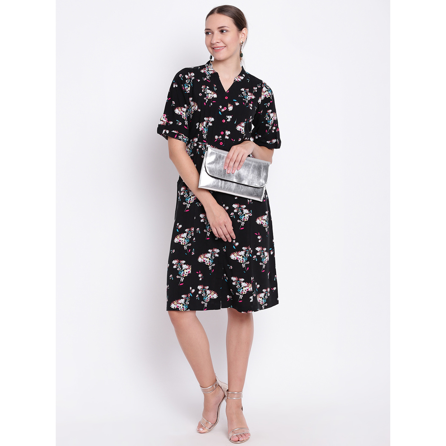 Ayaany Women's Fashion Black Floral Print A-Line Dress