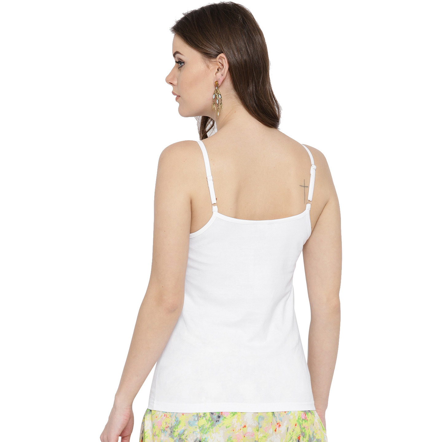 White Cotton Solid Camisoles For Womens