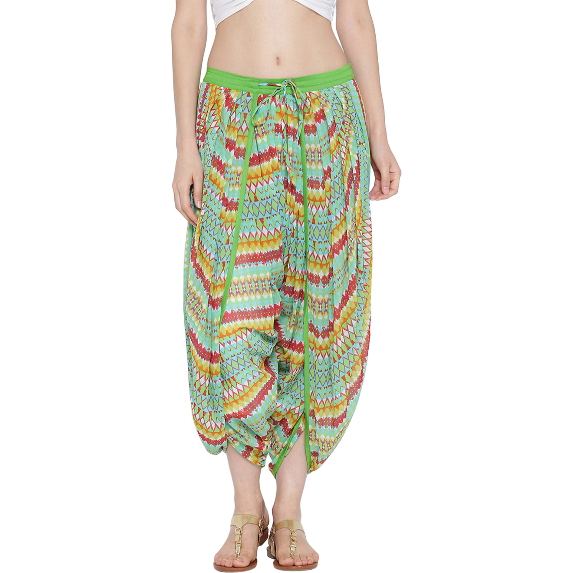 GreenGeorgetteDhoti salwar with  Cotton  lining For Womens