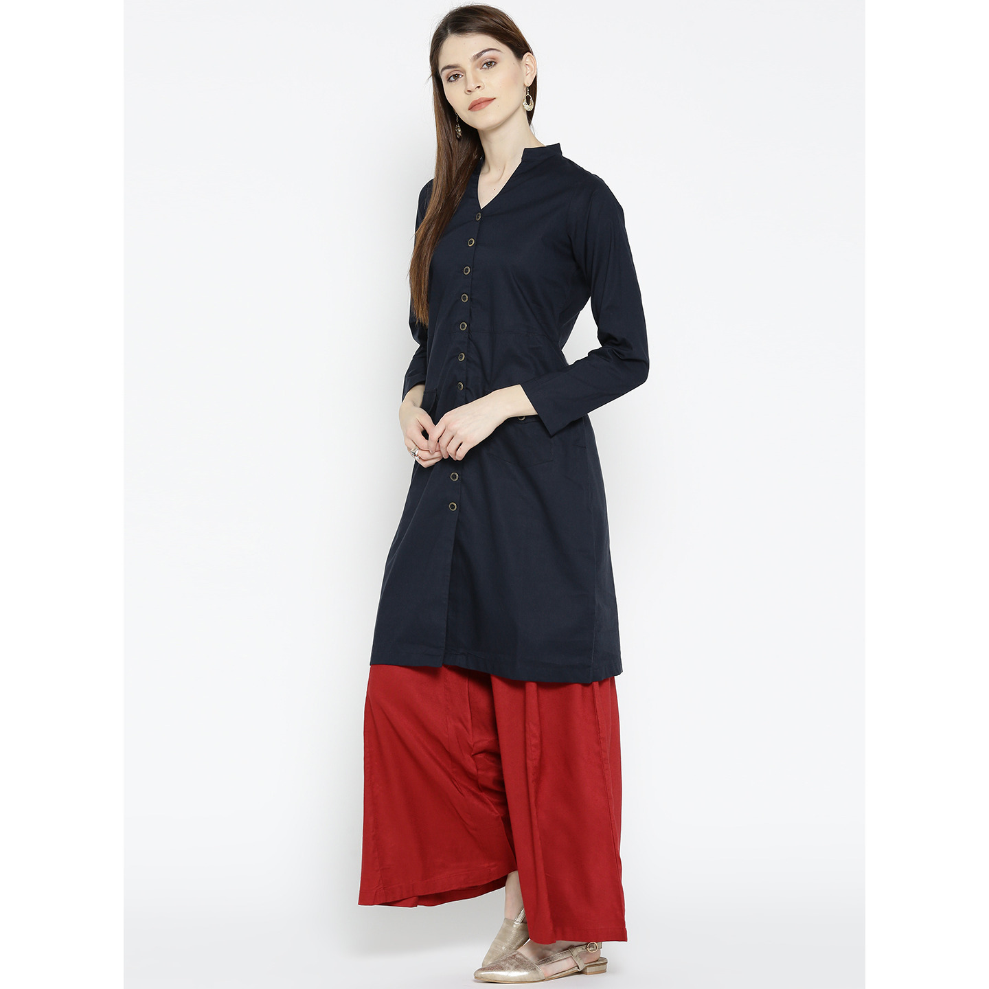 Navy-Blue Cotton Solid pocket Kurta For Womens