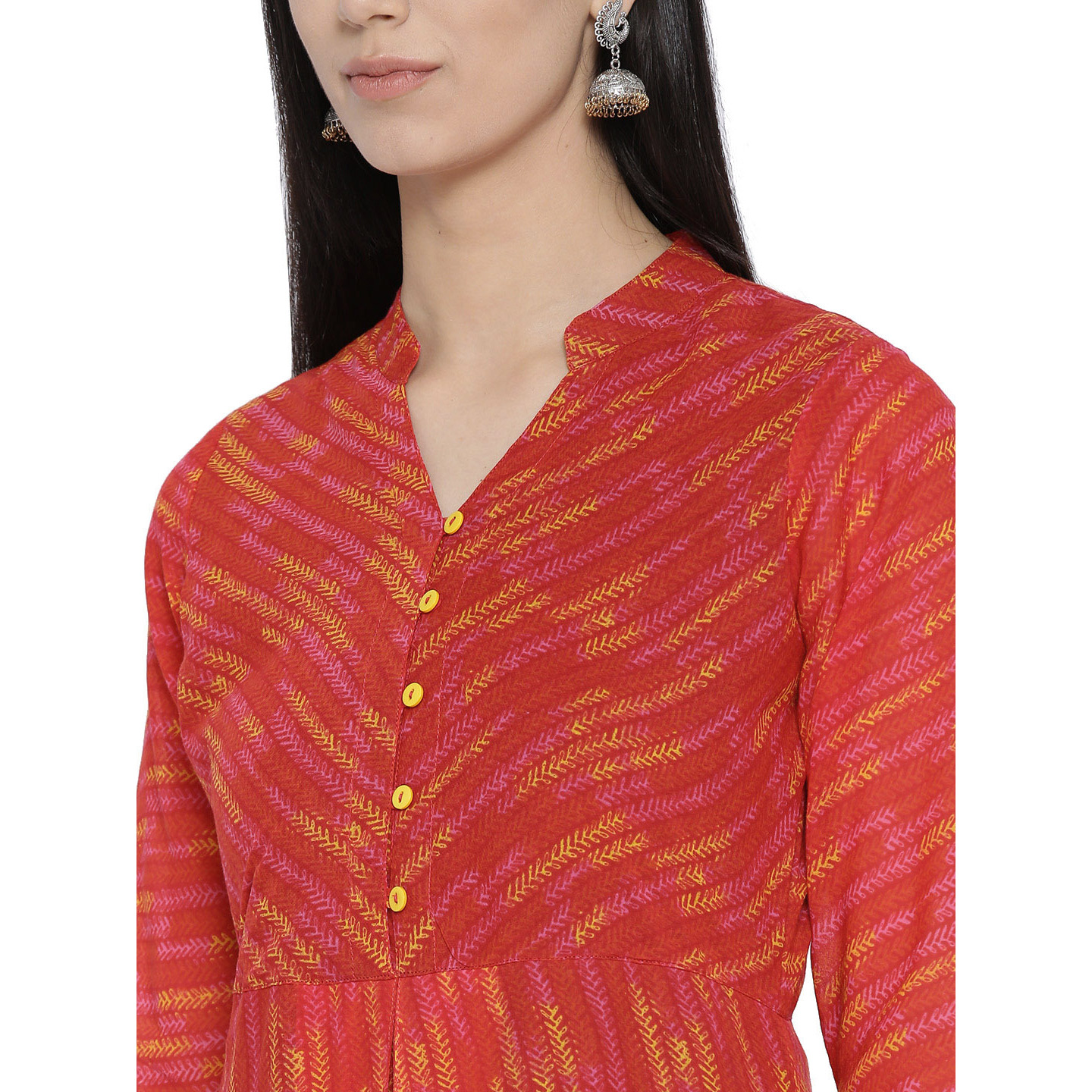 Red Cotton Fusion Kurta For Womens