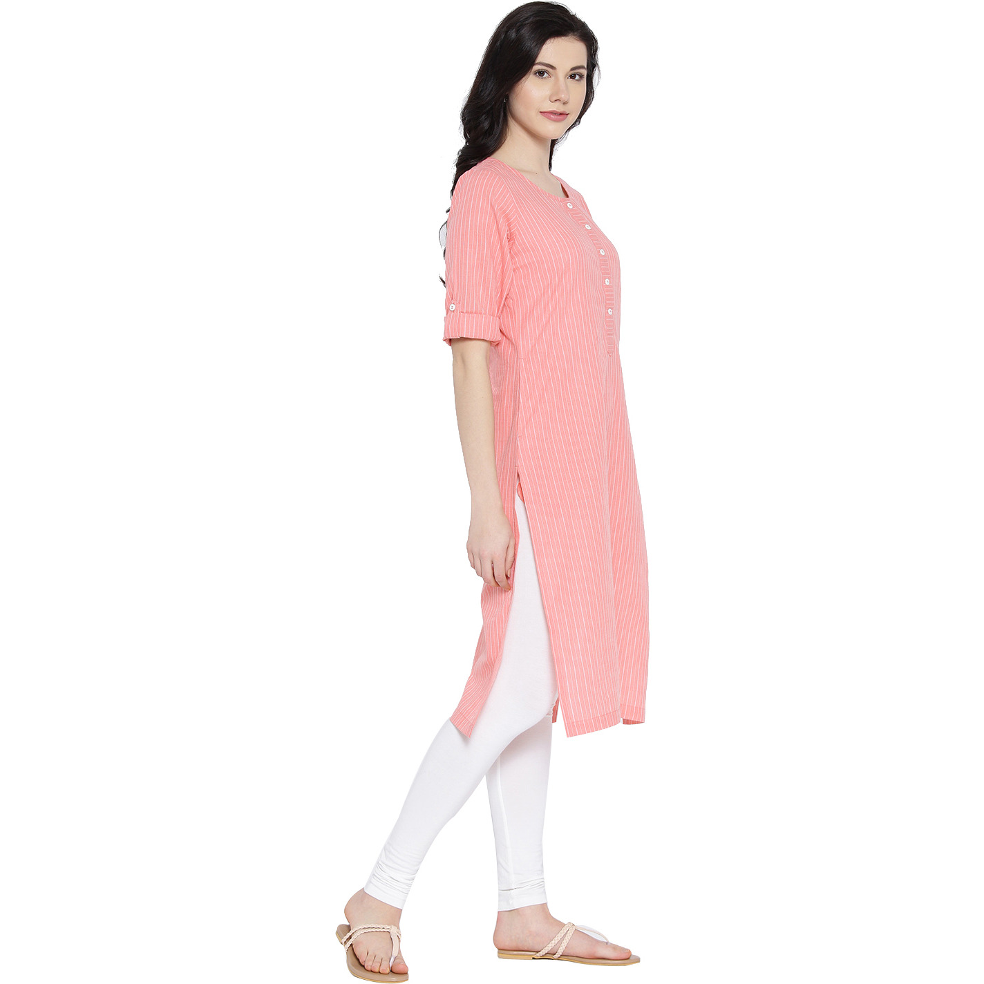 Pink Cotton Striped Kurta For Womens