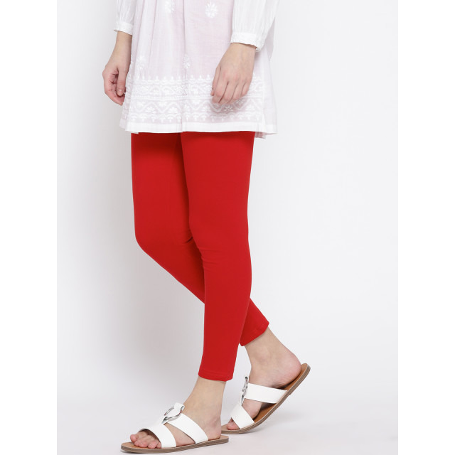 Ayaany Women's Fashion Red Cotton Solid comfort 3/4th Length Legging