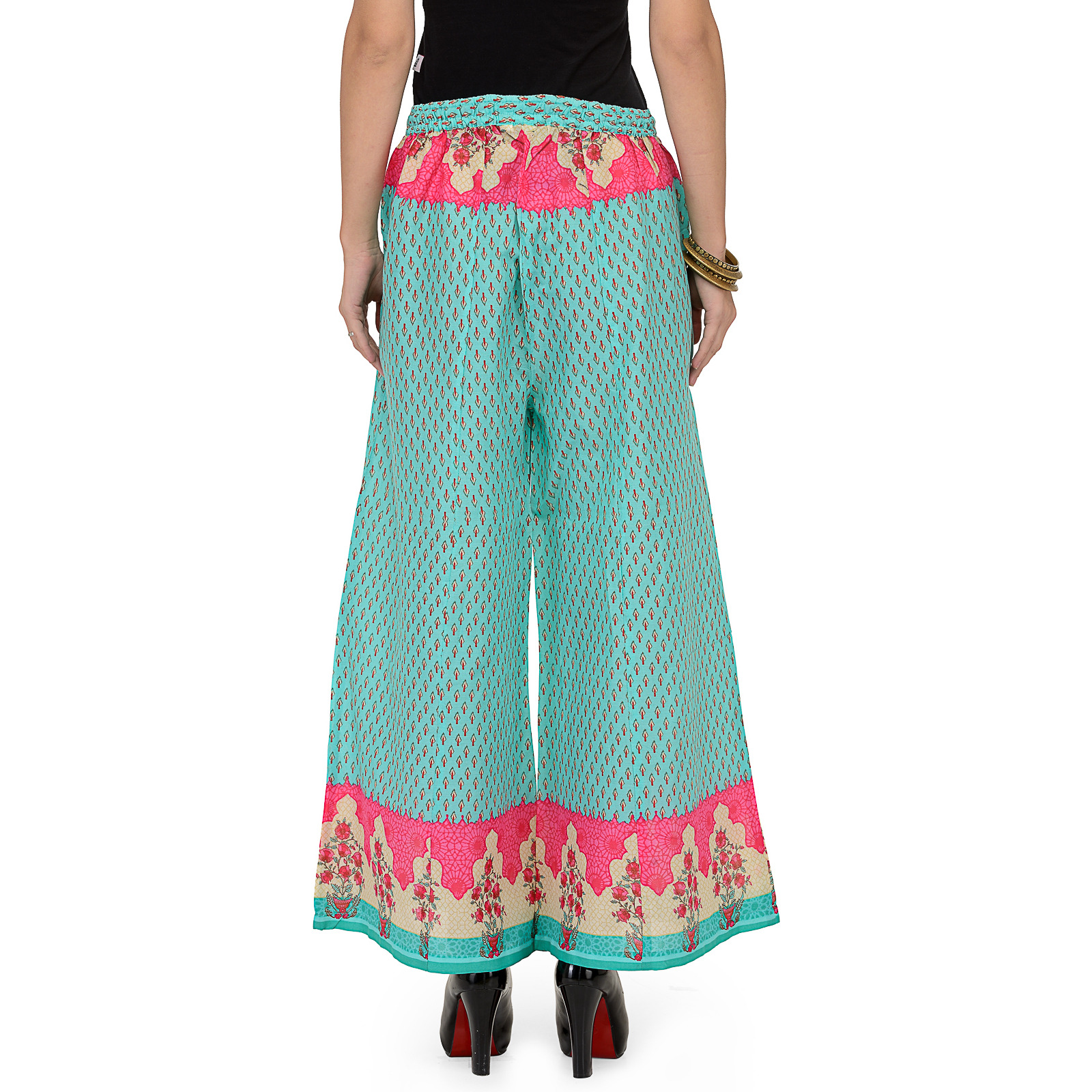 Sea-Green Cotton printed flared palazzo For Womens
