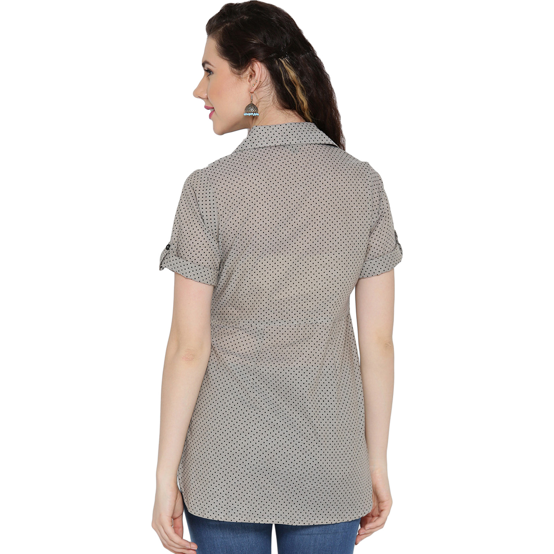 Beige Cotton Collared pleated high low shirt For Womens