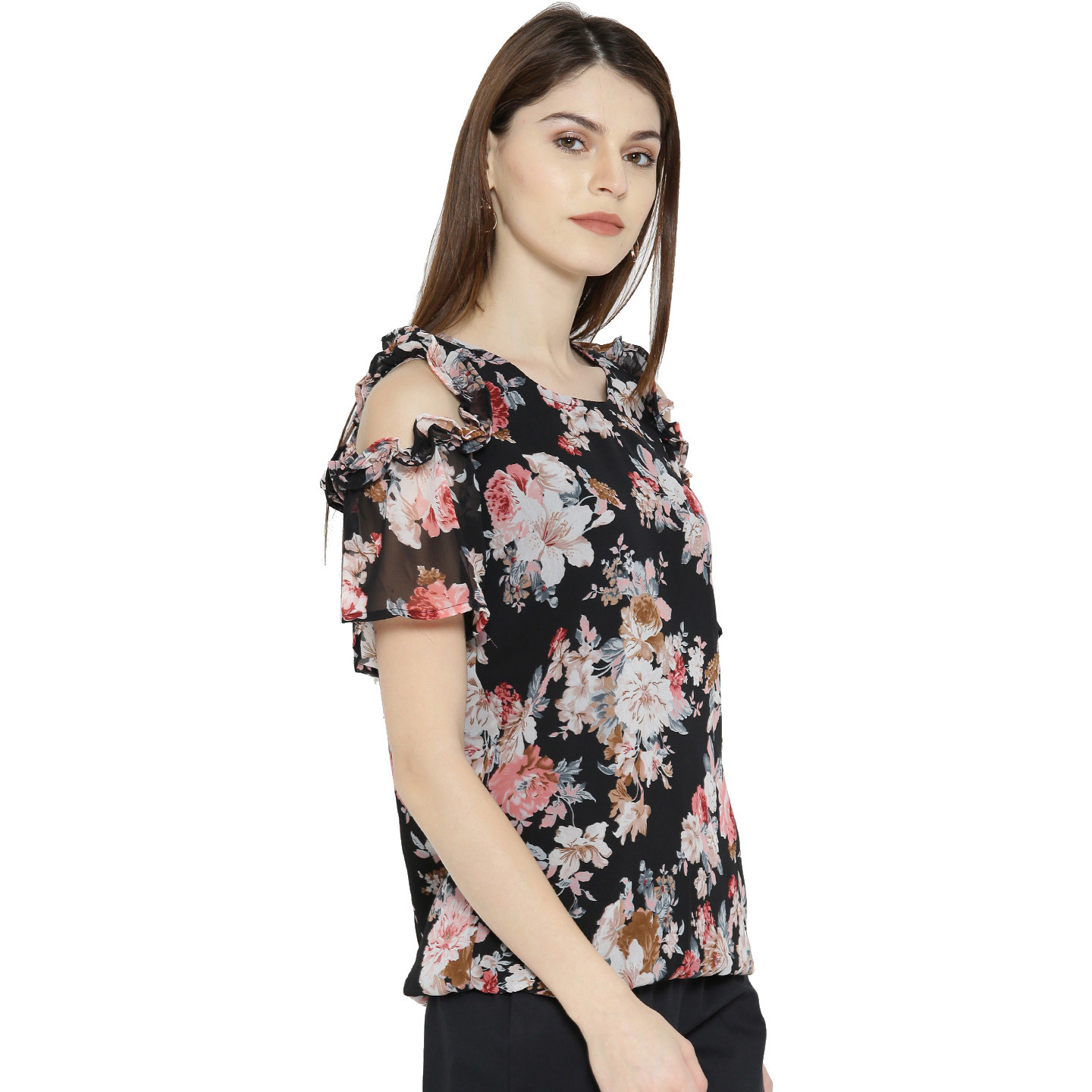 BlackPolyesterColdshoulder Top For Womens