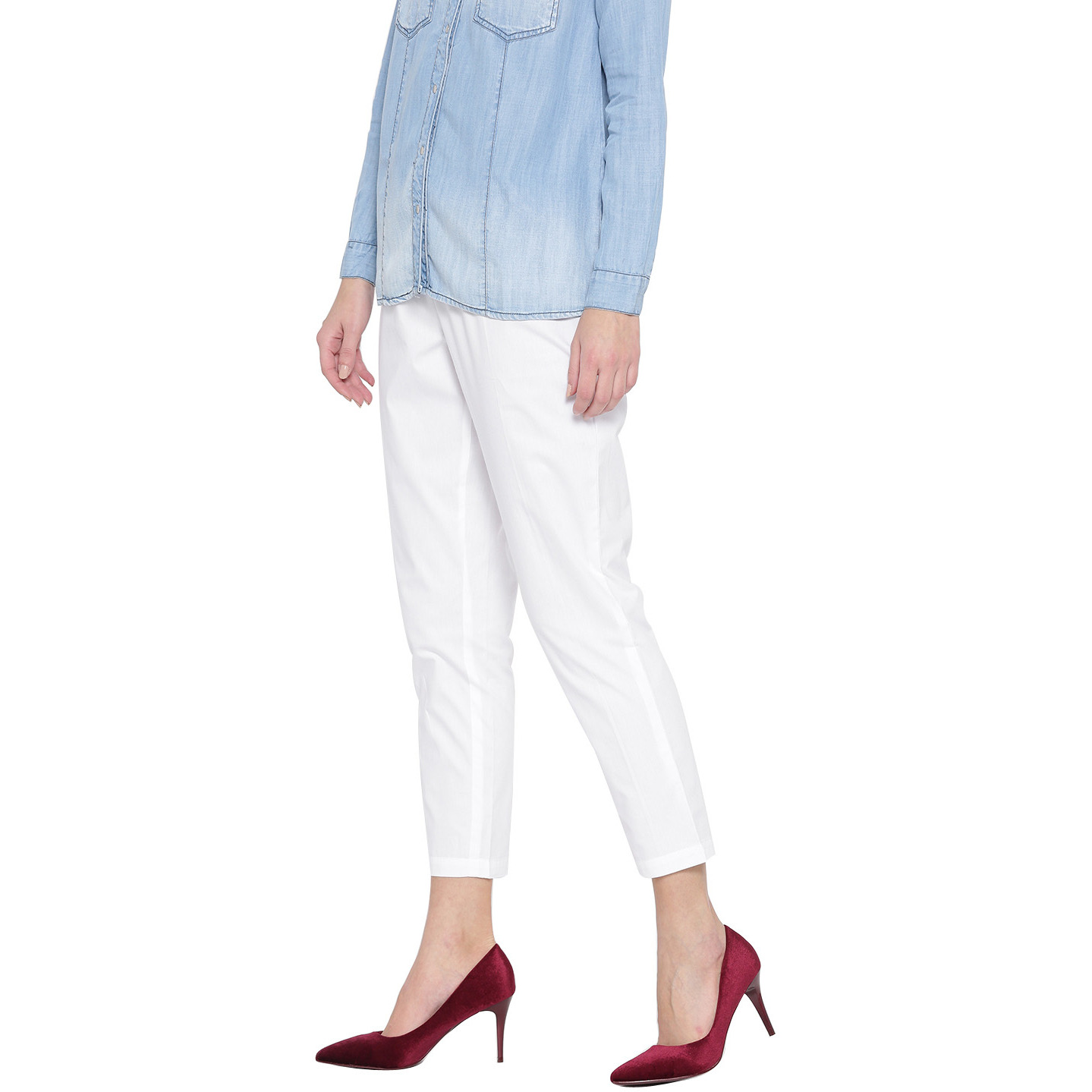 White Cotton Solid Pant For Womens