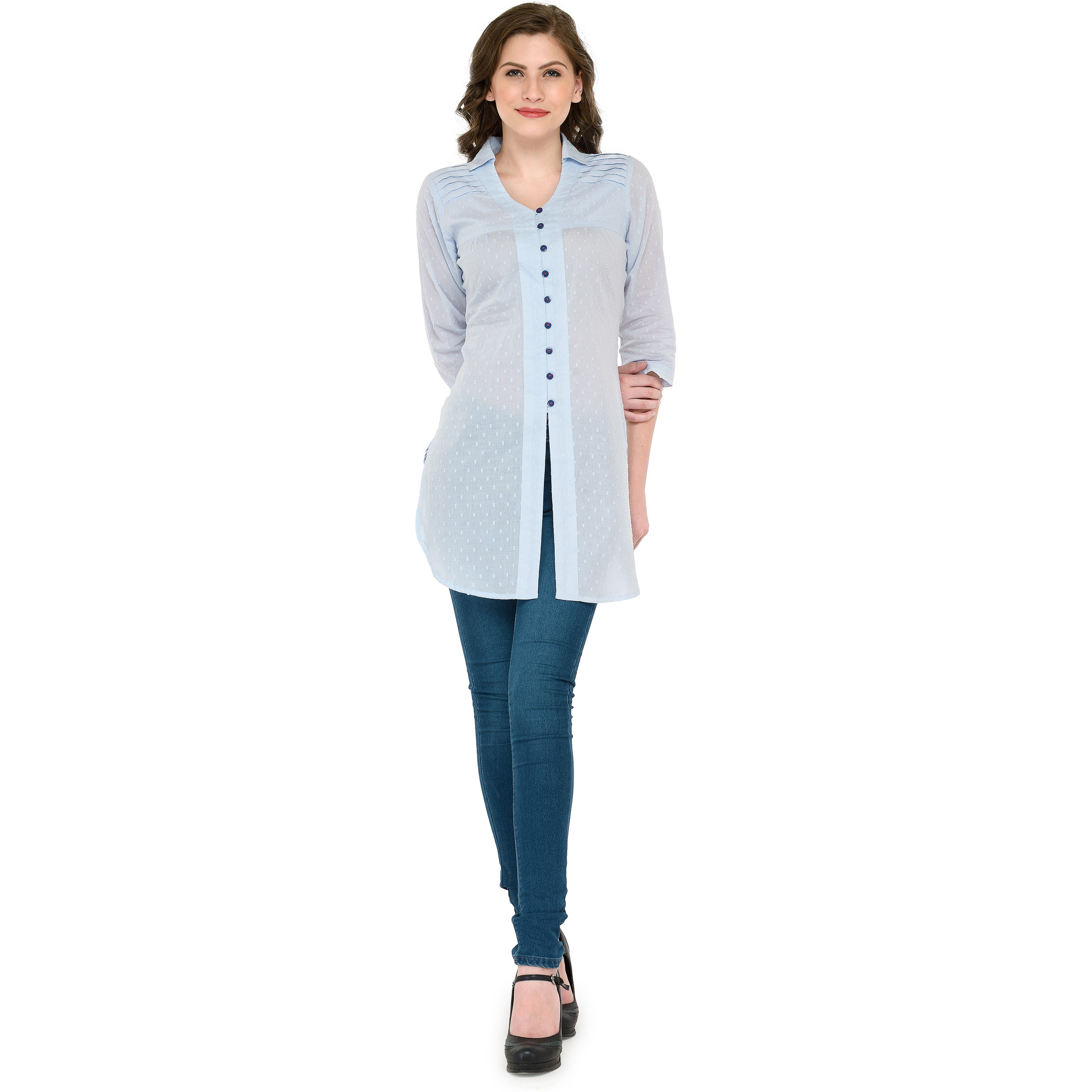 Ayaany Women's Fashion Blue Cotton Self Embroided Tunic