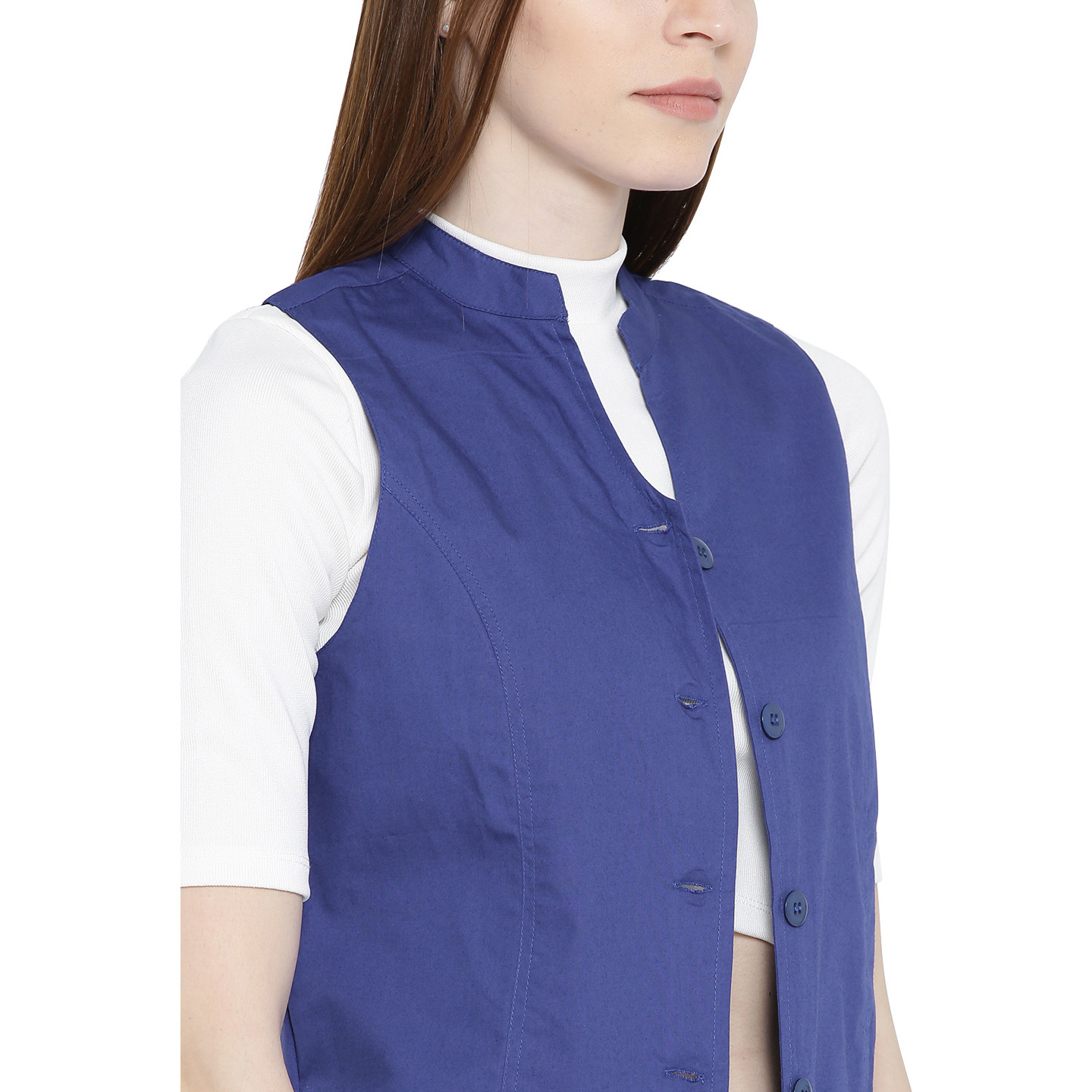 Ayaany Women's Fashion BluePure  Cotton Solid comfort waistcoat