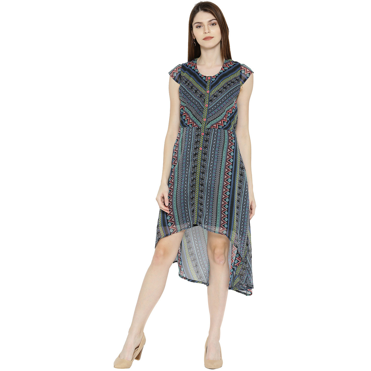 MultiPolyesterAsymetrical Hemilne dress For Womens