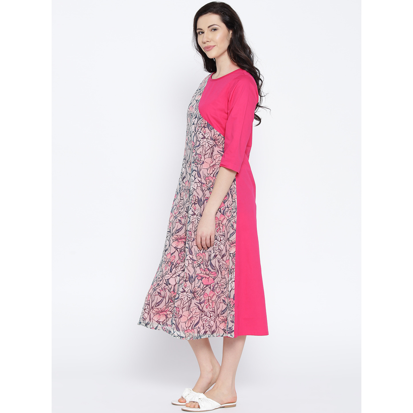 PinkPolyesterLong Floral Printed Dress For Womens