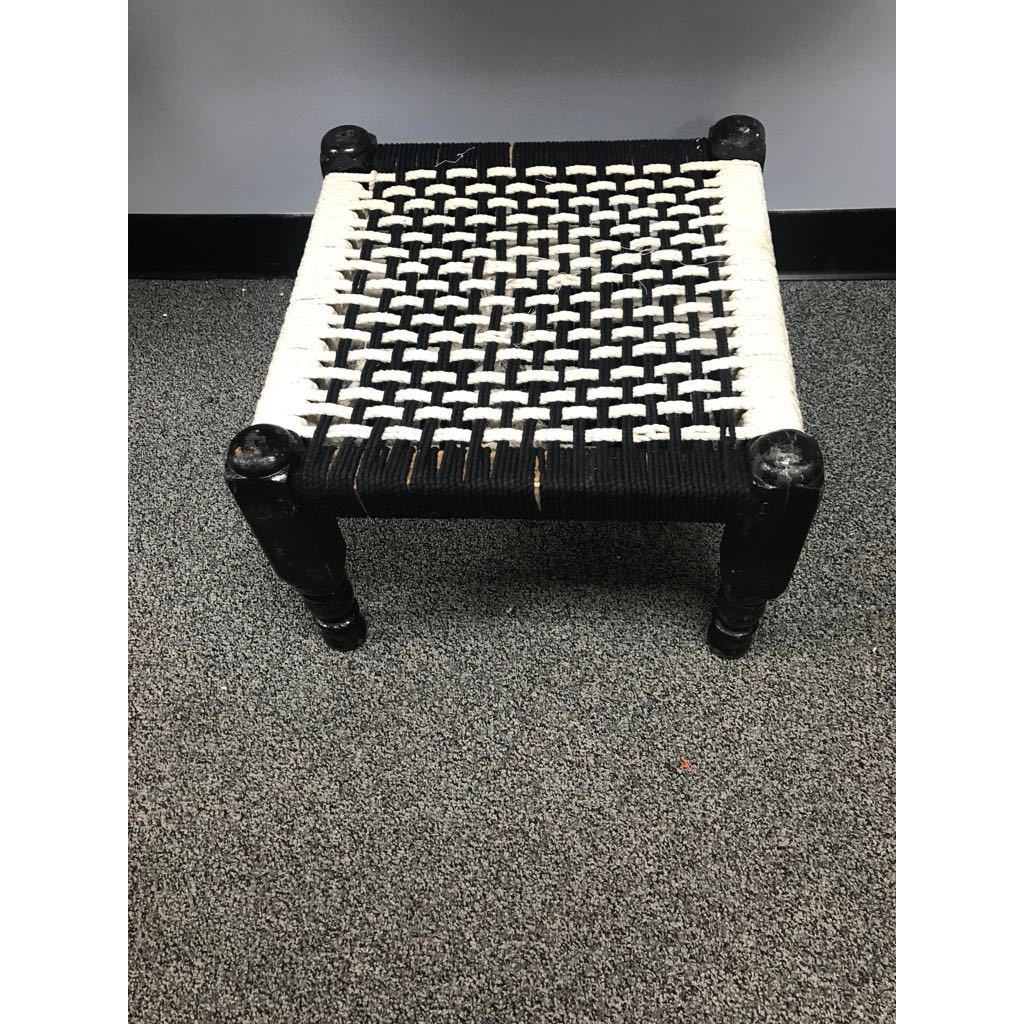 Traditional Indian Style Hand Woven Wooden Chowki / Foot Stool
