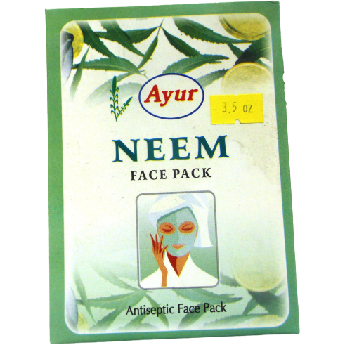 2 Pack Ayur Neem Face Pack Powder Antiseptic Soothes Skin Heals Pimples - 100 Gm