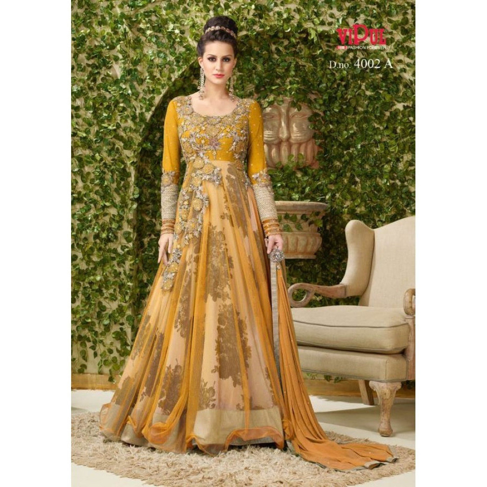 TANTALIZING FIRE GOLD COLORED BANGLORI SILK EMBROIDERED LONG ANARKALI SUIT