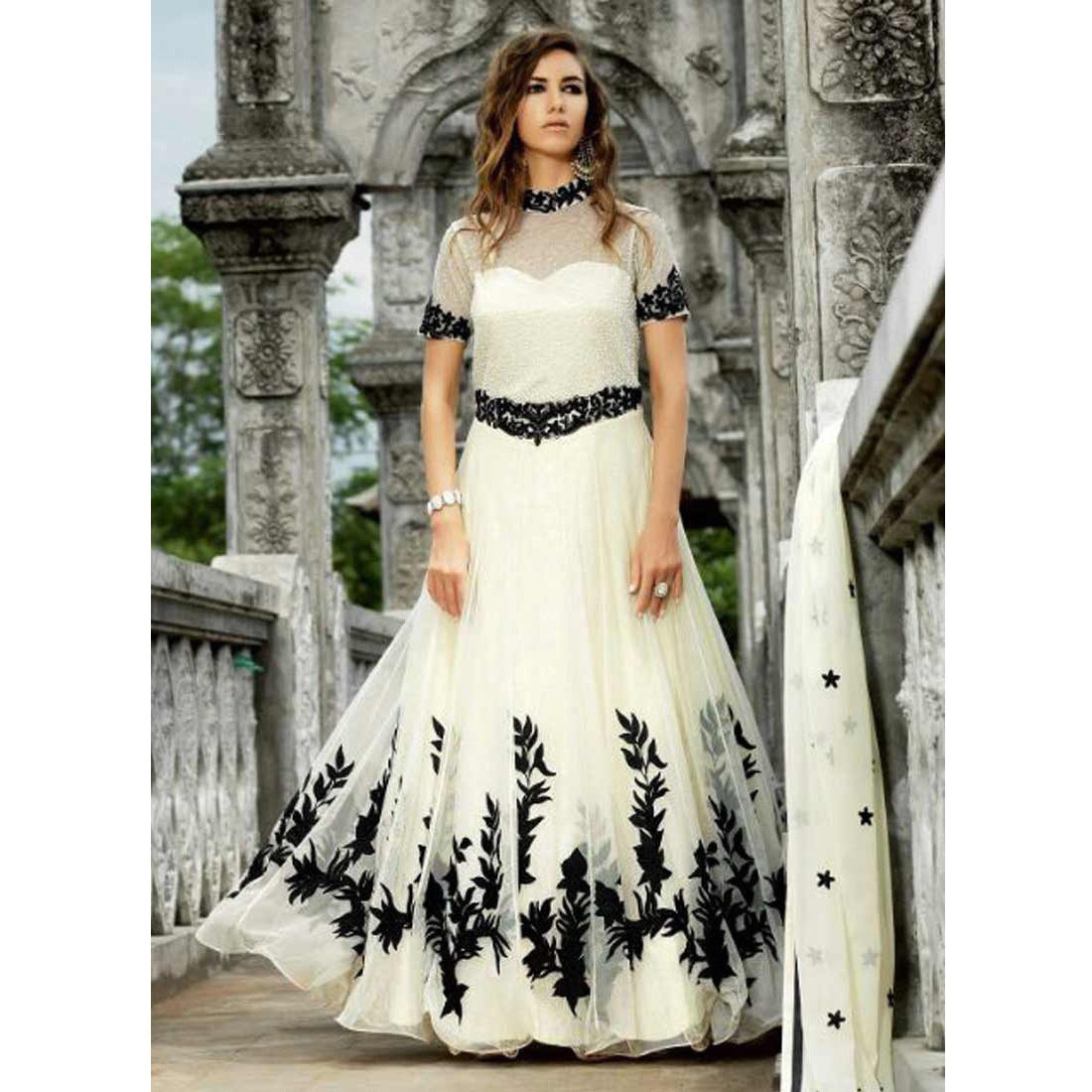 Adorable Off White Net Anarkali Suit