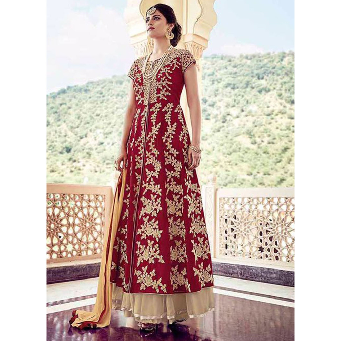 Girlish Maroon Faux Georgette Lehenga Style Suit