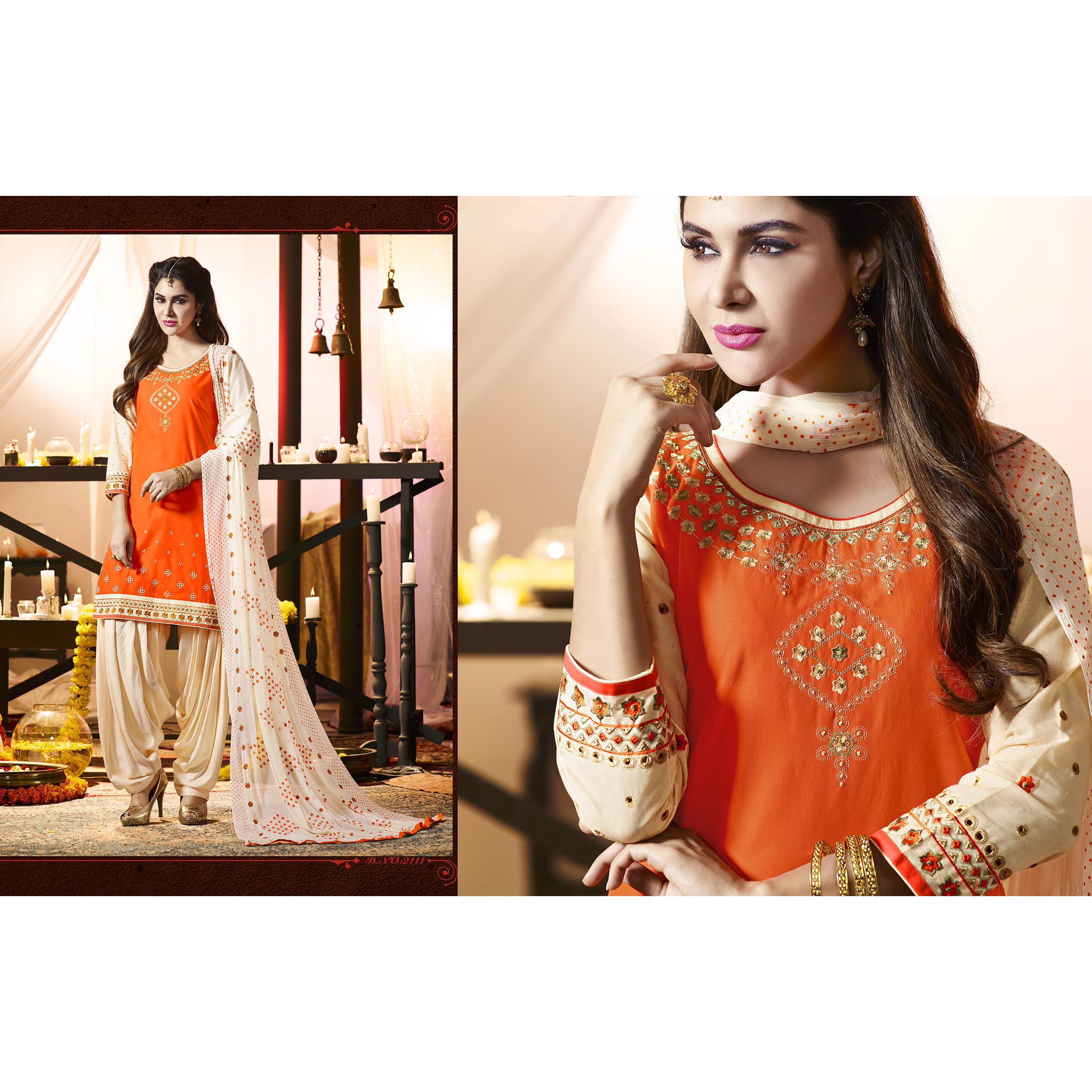 Indian Traditional Orange and Beige Color  Embroidered Cotton Patiyala