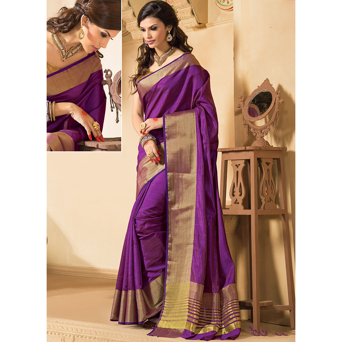 Honoured Purple Kanchipuram Silk Saree