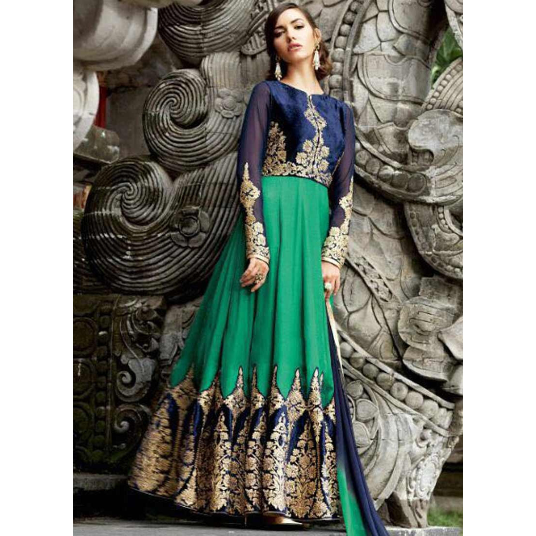 Peppy Green Georgette Anarkali Suit