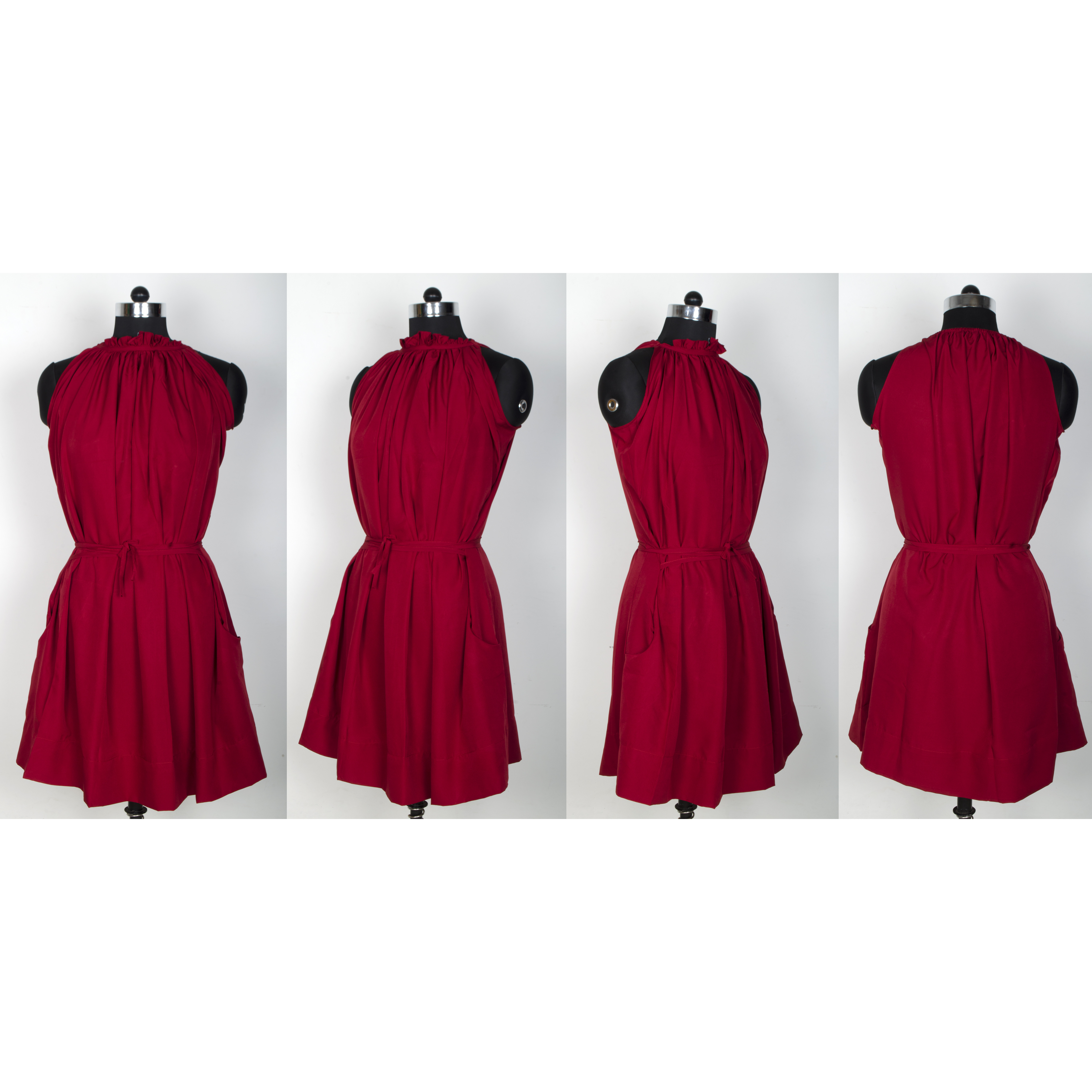 LemonQ  Crepe Fabric Exclusive Sleeveless & Round Neck Designer Maroon Skater