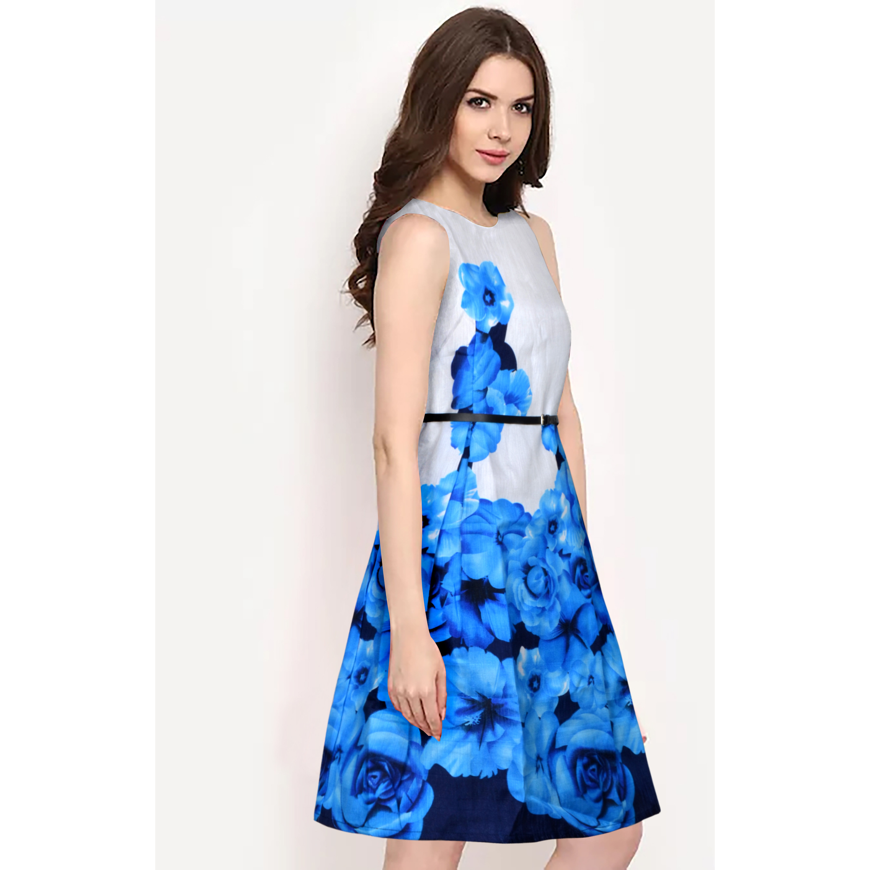 LemonQ  Banglori Satin Fabric Exclusive Sleeveless & Round Neck Designer Blue Skater