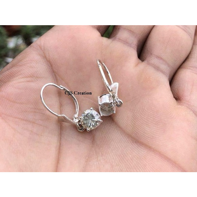 2.0 CT White Real Moissanite Solitaire 925 Sterling Silver Dangling Earring