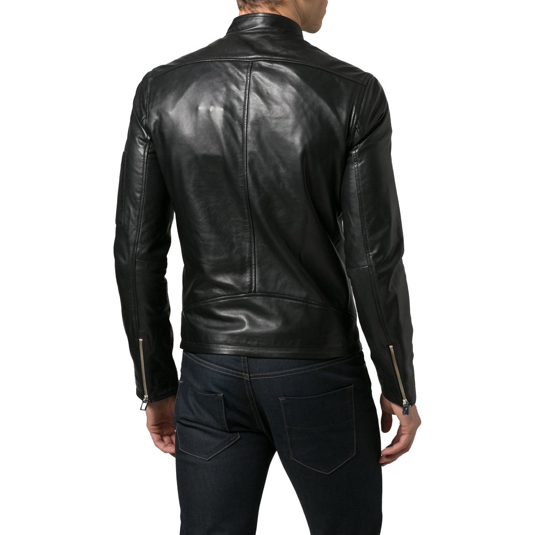 Trendtales Mens Leather Jacket Lambskin Leather Jacket for men (Size:M)