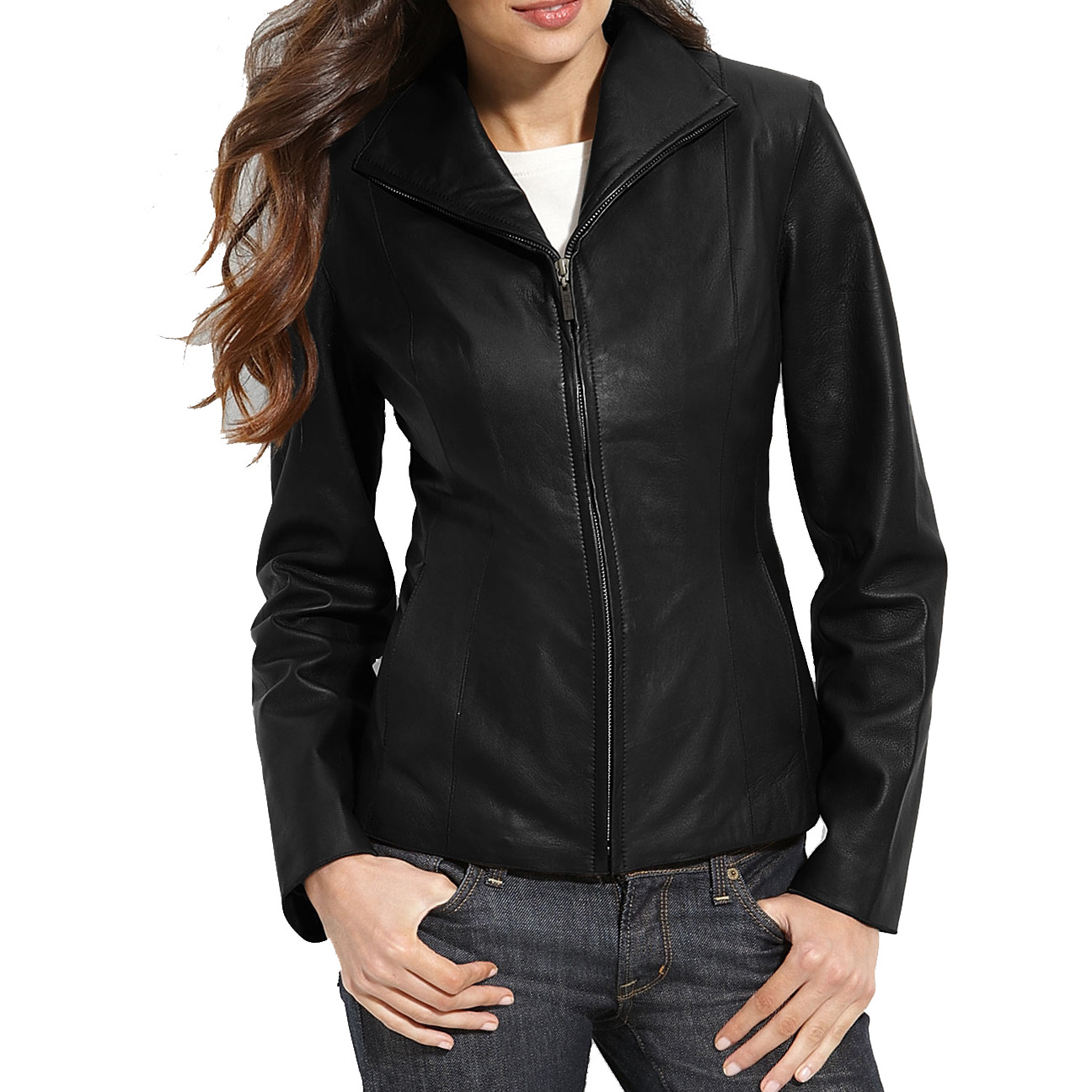 Trendtales womens leather jacket lambskin leather jacket for women (Size:L)