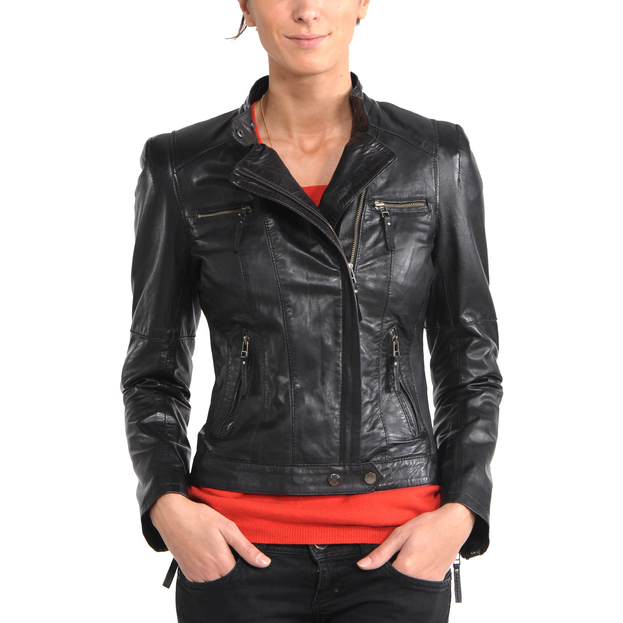 Trendtales womens leather jacket lambskin leather jacket for women (Size:M)