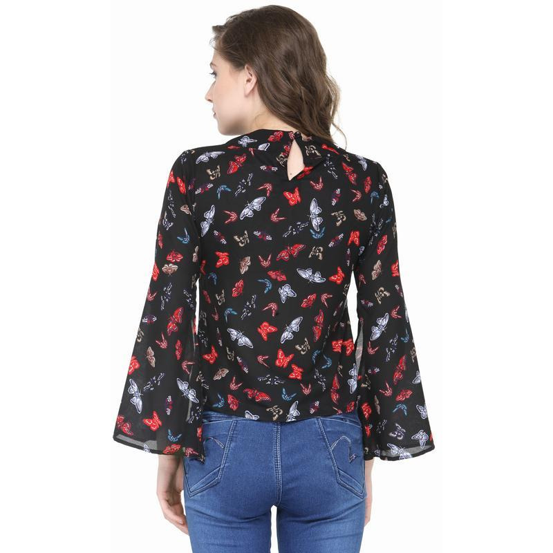 AnstoFab New Women Fashion Butterfly Print High Round Neck Slit Sleeve Black Top (Size:XS)