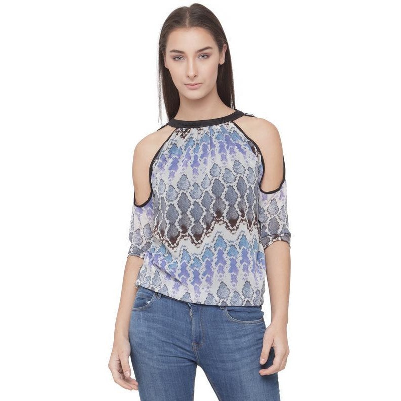 AnstoFab New Womens Fashion Abstract Print High Neck Cold Shoulder Blue Top (Size:L)