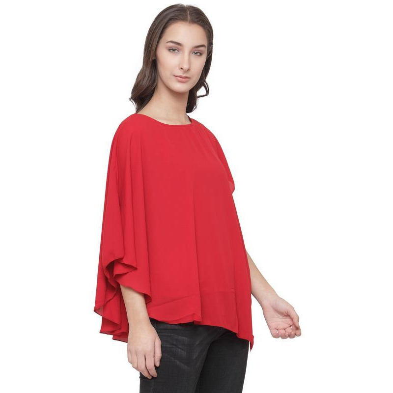 AnstoFab New Womens Fashion Assymetrical Hem Red Top (Size:XS)