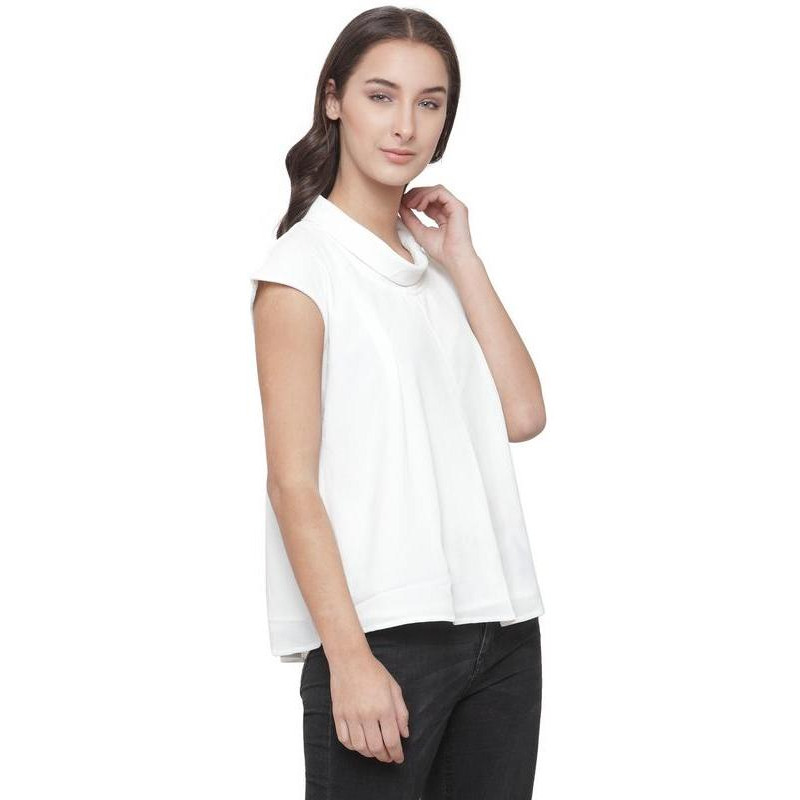 AnstoFab New Womens Fashion Dropping Sleeves White Top (Size:M)