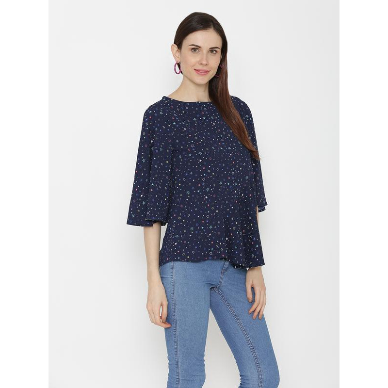 AnstoFab New Womens Fashion Star Print Round Neck Asymmetrical Hem Blue Top (Size:S)