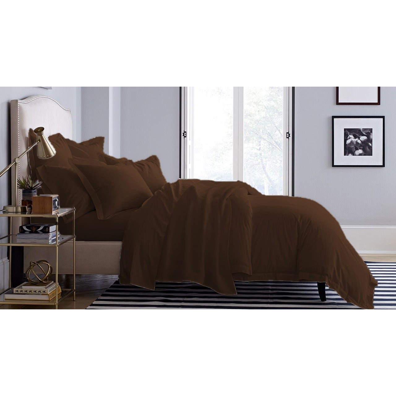 Home Decor Bed Fitted Chocolate Color King Size Bed Sheet With Pillow Cases Bedcover Bed Cases