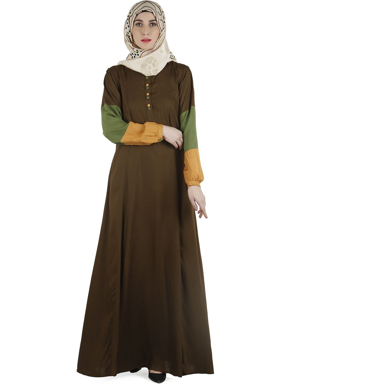 Modest Forever Color block Abaya dress (Size: M)