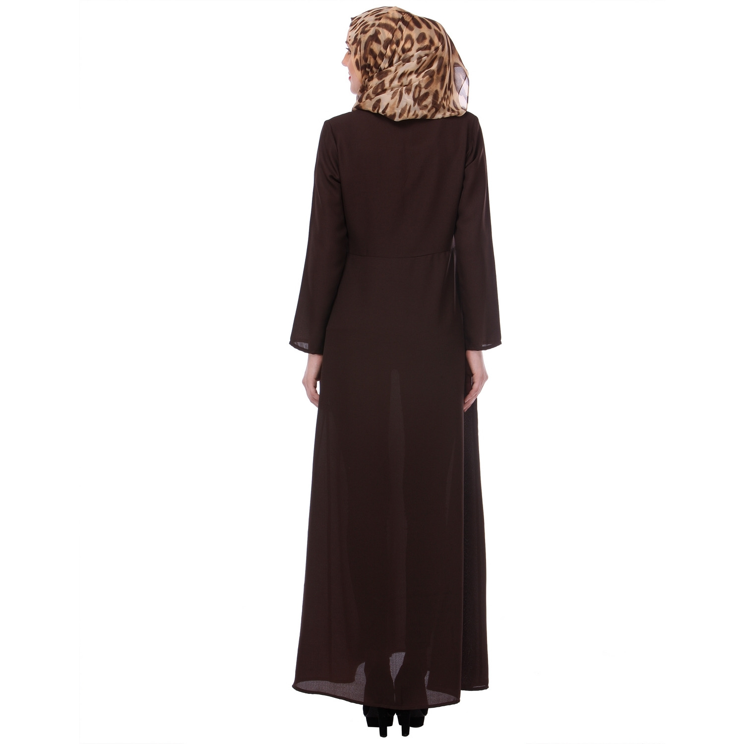 Modest Forever Zipped Brown Formal wear Abaya (Size: L)