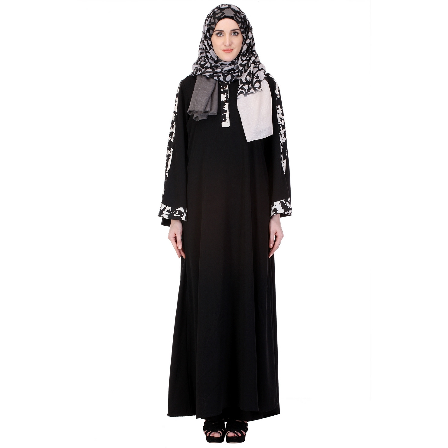 Modest Forever Basic Black Abaya with Printed White Trims (Size: M)