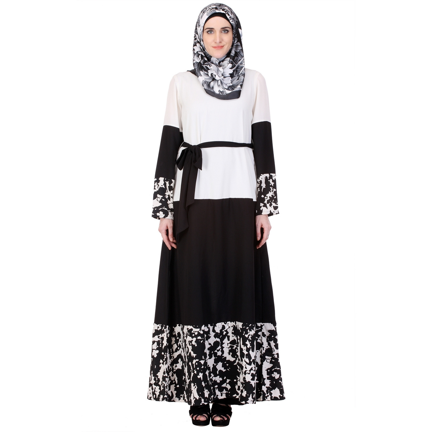 Modest Forever Iconic Black & White Abaya with Satin Belt (Size:M)
