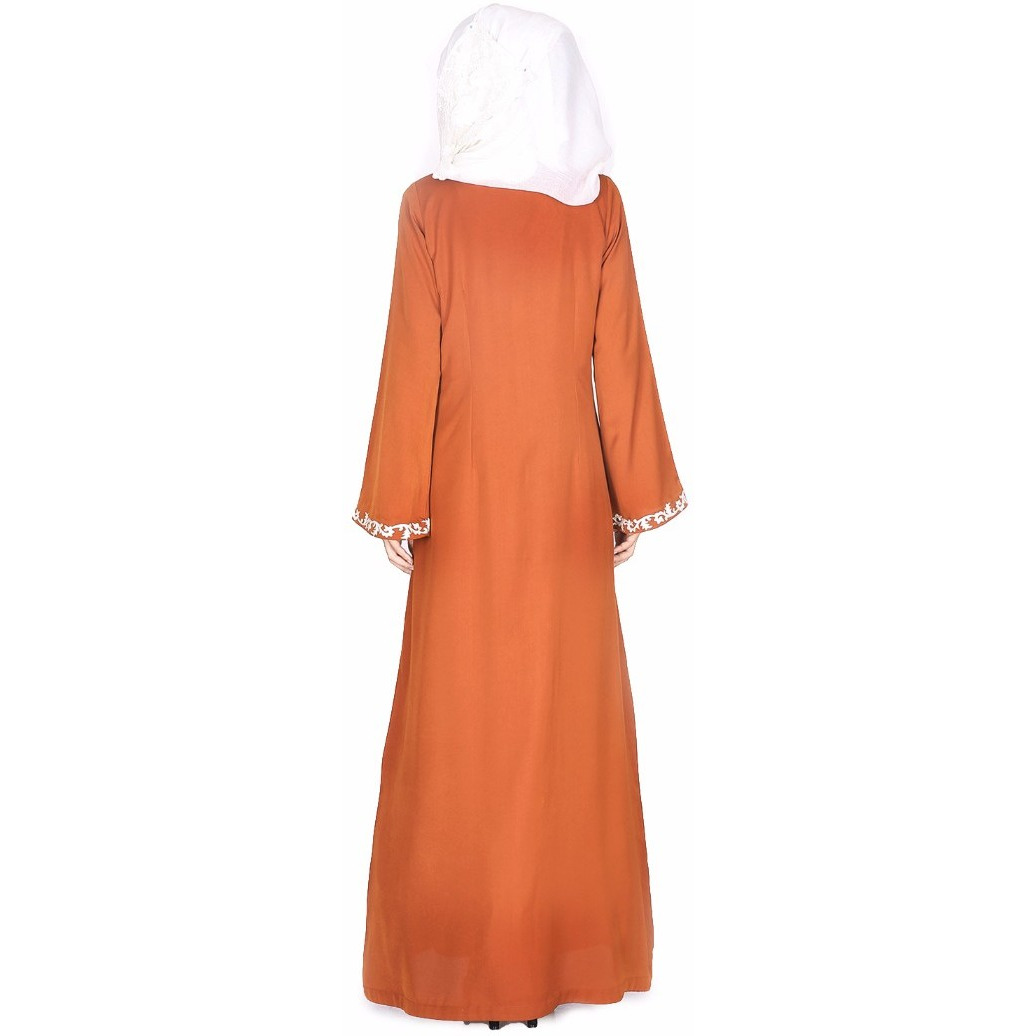 Modest Forever Brown Abaya With Thread Embroidery (Size:L)