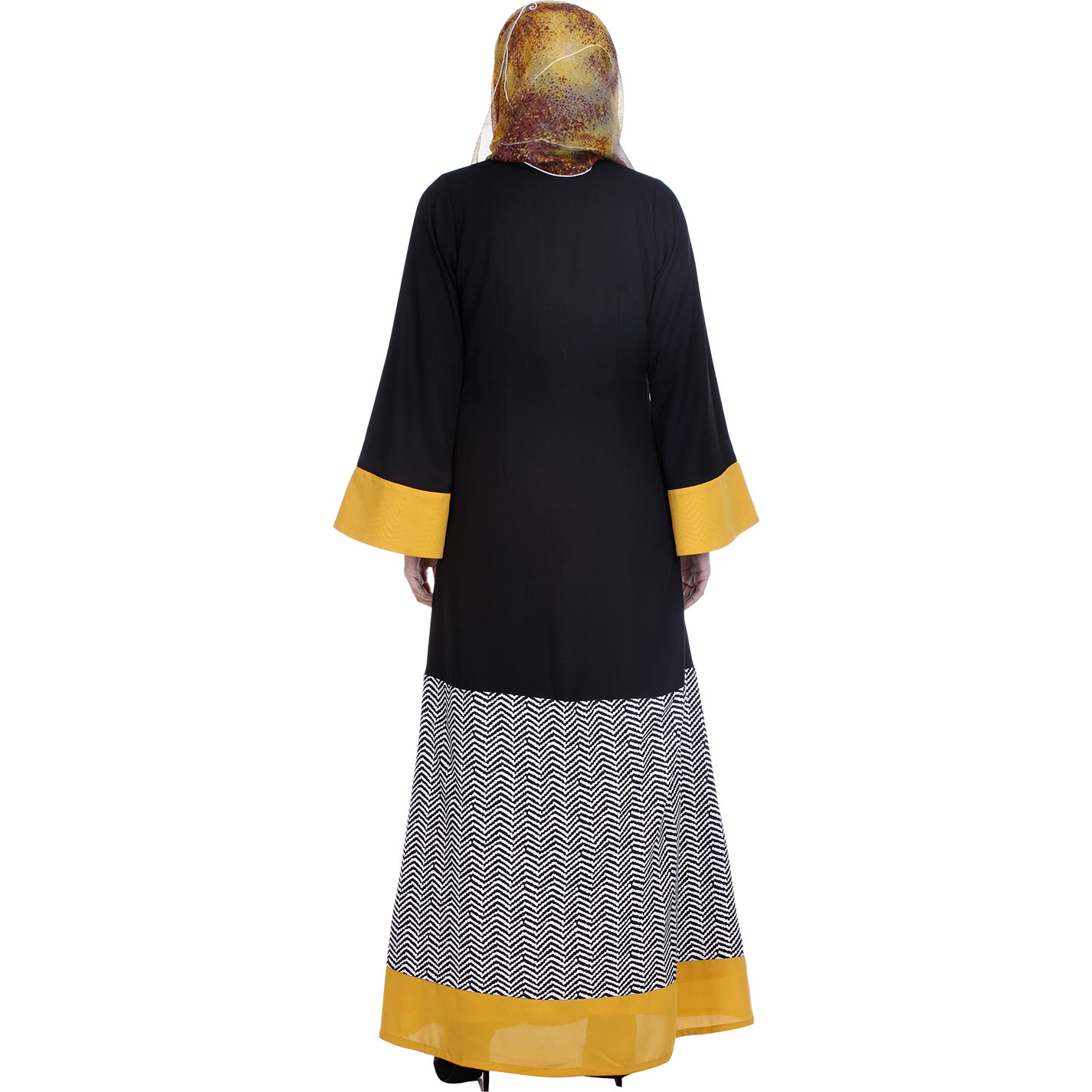 Modest Forever Black Abaya With Yellow Border (Size: L)